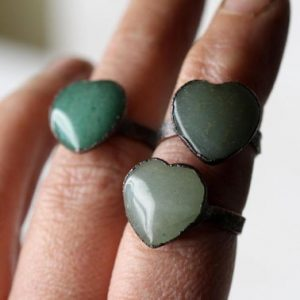 Shop Aventurine Rings! Aventurine Ring – Heart Shaped Stone Ring – Green Aventurine Jewelry – Copper Stone Ring | Natural genuine Aventurine rings, simple unique handcrafted gemstone rings. #rings #jewelry #shopping #gift #handmade #fashion #style #affiliate #ad