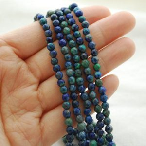 "Shop Azurite Faceted Beads! High Quality Azurite (dyed) Semi-precious Gemstone Faceted Round Beads – Approx 4mm – 15.5"" Long 