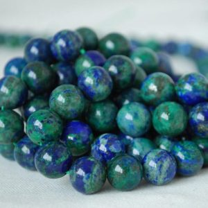 "Shop Azurite Round Beads! High Quality Azurite (dyed) Semi-precious Gemstone Round Beads – 4mm, 6mm, 8mm, 10mm, 12mm sizes – Approx 15.5"" strand 