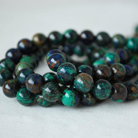 High Quality Grade A Natural Azurite Semi-precious Gemstone Round Beads - 8mm - 4 Beads