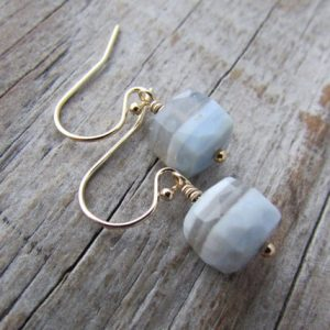 Shop Blue Lace Agate Earrings! Blue Lace Agate Earrings, faceted gemstone cubes, gold dangle earrings, periwinkle blue | Natural genuine Blue Lace Agate earrings. Buy crystal jewelry, handmade handcrafted artisan jewelry for women.  Unique handmade gift ideas. #jewelry #beadedearrings #beadedjewelry #gift #shopping #handmadejewelry #fashion #style #product #earrings #affiliate #ad
