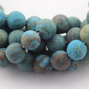 "Shop Blue Lace Agate Beads! 2.0mm Hole Blue Lace Agate Matte Round Size 8mm 10mm 15.5"" Strand 