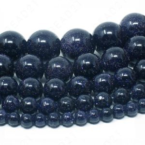 "Blue Sandstone Beads Goldstone Natural Gemstone Round Loose – 4mm 6mm 8mm 10mm 12mm – 15.5"" Strand 