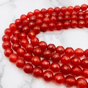 "Carnelian Faceted Round Beads 4mm 6mm 8mm 10mm 12mm 15.5"" Strand 