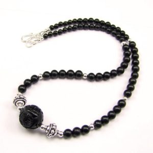 Shop Jet Necklaces! Carved Whitby Jet & Sterling Silver Necklace – N844b | Natural genuine Jet necklaces. Buy crystal jewelry, handmade handcrafted artisan jewelry for women.  Unique handmade gift ideas. #jewelry #beadednecklaces #beadedjewelry #gift #shopping #handmadejewelry #fashion #style #product #necklaces #affiliate #ad