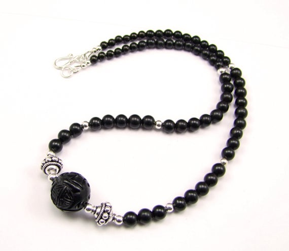 Carved Whitby Jet & Sterling Silver Necklace - N844b