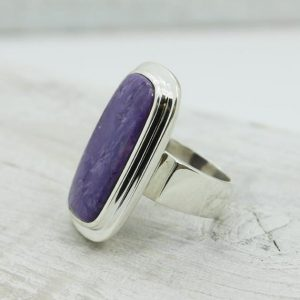 Shop Charoite Rings! Long Slim Purple Charoite Ring, Rectangle Shape Charoite Silver Ring Sterling Silver Charoïte Jewelry Russian Charoite All Natural Charoïte | Natural genuine Charoite rings, simple unique handcrafted gemstone rings. #rings #jewelry #shopping #gift #handmade #fashion #style #affiliate #ad