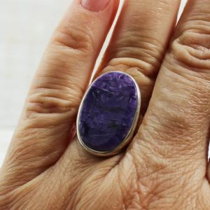 Shop Charoite Rings! Purple Charoite Ring, Oval Shape Charoite Silver Ring Sterling Silver Charoite Jewelry Russian Charoite All Natural Charoite Purple | Natural genuine Charoite rings, simple unique handcrafted gemstone rings. #rings #jewelry #shopping #gift #handmade #fashion #style #affiliate #ad