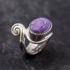 Shop Charoite Rings! Unique Ring, Charoite Ring, Purple Charoite Ring, Purple Ring, Artistic Ring, Large Ring, Scorpio Birthstone, Solid Silver Ring, Charoite | Natural genuine Charoite rings, simple unique handcrafted gemstone rings. #rings #jewelry #shopping #gift #handmade #fashion #style #affiliate #ad