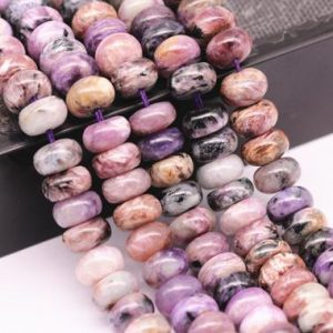 "Natural Charoite Smooth Rondelle Beads 5x8mm 6x10mm 15.5"" Strand 