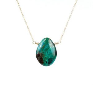 Malachite necklace – chrysocolla necklace – mineral – drop necklace – a green stone necklace – wire wrapped stone – gold filled necklace | Natural genuine Chrysocolla necklaces. Buy crystal jewelry, handmade handcrafted artisan jewelry for women.  Unique handmade gift ideas. #jewelry #beadednecklaces #beadedjewelry #gift #shopping #handmadejewelry #fashion #style #product #necklaces #affiliate #ad