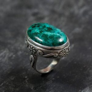 Shop Chrysocolla Rings! Large Blue Ring, Natural Chrysocolla, Statement Ring, Vintage Blue Rings, Sagittarius Birthstone, Solid Silver Ring, Blue Gem, Chrysocolla | Natural genuine Chrysocolla rings, simple unique handcrafted gemstone rings. #rings #jewelry #shopping #gift #handmade #fashion #style #affiliate #ad