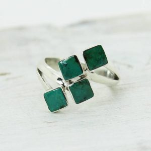 Shop Chrysocolla Rings! Stylish Chrysocolla Ring With 4 Square Cabs Set On Sterling Silver 925 Quality Ring Unique And Trendy Design Durable Jewelry | Natural genuine Chrysocolla rings, simple unique handcrafted gemstone rings. #rings #jewelry #shopping #gift #handmade #fashion #style #affiliate #ad