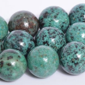 "Shop Chrysocolla Round Beads! 10MM Deep Green Chrysocolla Beads Grade AA Genuine Natural Gemstone Full Strand Round Loose Beads 15.5"" Bulk Lot Options (107873-2577) 