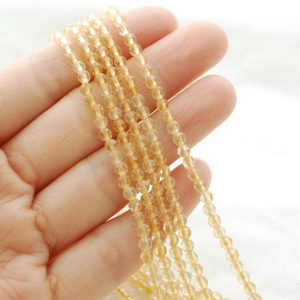 "Shop Citrine Beads! High Quality Grade A Natural Citrine Semi-precious Gemstone Faceted Round Beads – Approx 4mm – 15.5"" Strand 