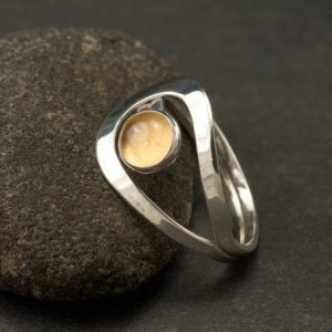 Citrine Ring- Silver Citrine Ring- Sterling Silver Yellow Stone Ring- November birthstone- handmade sterling silver ring | Natural genuine Citrine rings, simple unique handcrafted gemstone rings. #rings #jewelry #shopping #gift #handmade #fashion #style #affiliate #ad