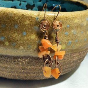 Shop Aragonite Earrings! Copper And Orange Aragonite Wire-wrapped Earrings | Natural genuine Aragonite earrings. Buy crystal jewelry, handmade handcrafted artisan jewelry for women.  Unique handmade gift ideas. #jewelry #beadedearrings #beadedjewelry #gift #shopping #handmadejewelry #fashion #style #product #earrings #affiliate #ad