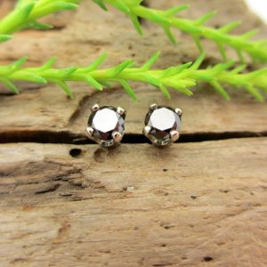 Shop Diamond Earrings! Black Diamond Studs – Genuine Black Diamond Stud Earrings, Real 14k Gold, Platinum, Or Sterling Silver – 3mm, 4mm, 5mm, 6mm | Natural genuine Diamond earrings. Buy crystal jewelry, handmade handcrafted artisan jewelry for women.  Unique handmade gift ideas. #jewelry #beadedearrings #beadedjewelry #gift #shopping #handmadejewelry #fashion #style #product #earrings #affiliate #ad