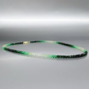 Shop Emerald Necklaces! Necklace of shaded green Emerald with solid 14K gold – unique gift for her – genuine precious gemstone – special design – May birthstone | Natural genuine Emerald necklaces. Buy crystal jewelry, handmade handcrafted artisan jewelry for women.  Unique handmade gift ideas. #jewelry #beadednecklaces #beadedjewelry #gift #shopping #handmadejewelry #fashion #style #product #necklaces #affiliate #ad