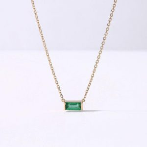 Baguette Lab Emerald Wedding Necklace Pendant Minimalist Modern Women Gemstone Birthstone Luxury Green Birthday Gift For Her | Natural genuine Emerald pendants. Buy handcrafted artisan wedding jewelry.  Unique handmade bridal jewelry gift ideas. #jewelry #beadedpendants #gift #crystaljewelry #shopping #handmadejewelry #wedding #bridal #pendants #affiliate #ad