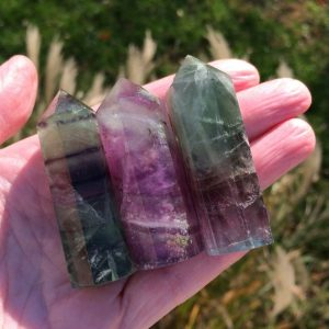 "Shop Generator Crystals! Rainbow Fluorite Crystal – Mini Point 1.7""-2.4"" – Generator – Tower – Polished Stone – Healing Crystal- Meditation Stone- Collectible- China 