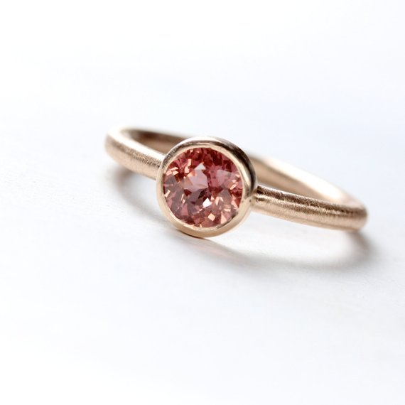 Malaya Garnet 14k Rose Gold Engagement Ring Modern Pink Brown Color Change Low Profile Bezel Design January Birthstone - Rose's Rose