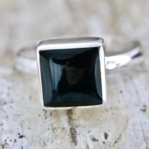 Shop Jet Rings! Whitby Jet Ring – Handmade ring Silver Square | Natural genuine Jet rings, simple unique handcrafted gemstone rings. #rings #jewelry #shopping #gift #handmade #fashion #style #affiliate #ad