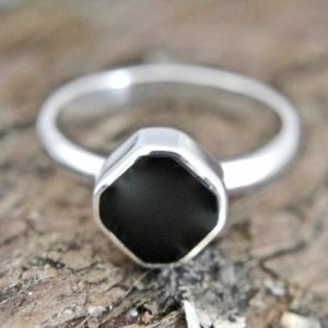 Shop Jet Rings! Whitby Jet Ring in Sterling Silver – Handmade – Womens Whitby Jet Ring | Natural genuine Jet rings, simple unique handcrafted gemstone rings. #rings #jewelry #shopping #gift #handmade #fashion #style #affiliate #ad