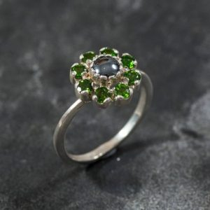 Shop Hematite Jewelry! Hematite Ring, Chrome Diopside Ring, Natural Stones, Emerald Green Ring, Emerald Green Stones, Chrome Diopside, Hematite, Vintage Ring | Natural genuine Hematite jewelry. Buy crystal jewelry, handmade handcrafted artisan jewelry for women.  Unique handmade gift ideas. #jewelry #beadedjewelry #beadedjewelry #gift #shopping #handmadejewelry #fashion #style #product #jewelry #affiliate #ad