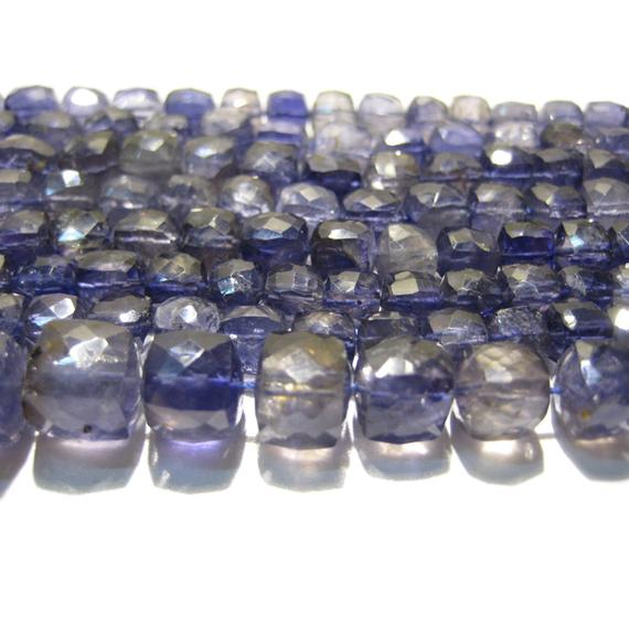 7mm Iolite Faceted Cubes, Violet Blue Iolite Faceted Box Bead, Blue Iolite Bead For Necklace, Iolite Faceted Box Cubes (4in To 8in Options)