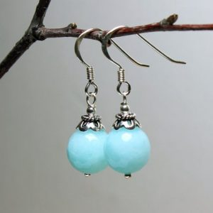 Shop Jade Earrings! Jade Sterling Silver Earrings aqua blue natural gemstone elegant everyday classic traditional dangle drops mothers day gift for her 5369 | Natural genuine Jade earrings. Buy crystal jewelry, handmade handcrafted artisan jewelry for women.  Unique handmade gift ideas. #jewelry #beadedearrings #beadedjewelry #gift #shopping #handmadejewelry #fashion #style #product #earrings #affiliate #ad