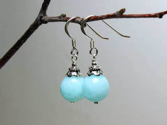 Jade Sterling Silver Earrings Aqua Blue Natural Gemstone Elegant Everyday Classic Traditional Dangle Drops Mothers Day Gift For Her 5369