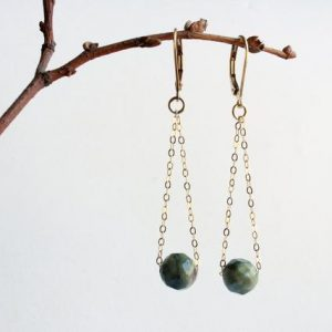 Shop Jasper Earrings! Fancy Jasper Earrings, Goldfilled, Natural Green Gemstones, Gold Chain Earrings, Boho Luxe Dangle Drop, Holiday Gift For Her, 5170 | Natural genuine Jasper earrings. Buy crystal jewelry, handmade handcrafted artisan jewelry for women.  Unique handmade gift ideas. #jewelry #beadedearrings #beadedjewelry #gift #shopping #handmadejewelry #fashion #style #product #earrings #affiliate #ad