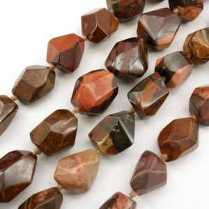 Shop Red Jasper Beads! Autumn Jasper faceted beads 12.5-16mm (ETB01278) Unique jewelry/Vintage jewelry/Gemstone necklace | Natural genuine beads Jasper beads for beading and jewelry making.  #jewelry #beads #beadedjewelry #diyjewelry #jewelrymaking #beadstore #beading #affiliate #ad