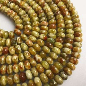 "Shop Jasper Rondelle Beads! Russian Blood Serpentine Jade Smooth Rondelle Beads 4mm 6mm 8mm 10mm 15.5"" Strd 