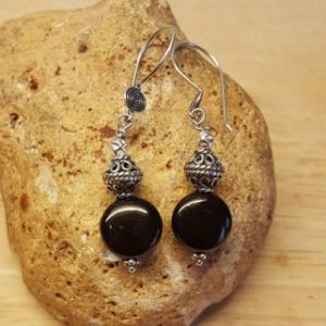 Shop Jet Jewelry! Small Black Jet Earrings. Reiki Jewelry Uk. Wire Wrapped Dangle Drop Earrings. 19x11mm. Bali Silver Beads | Natural genuine Jet jewelry. Buy crystal jewelry, handmade handcrafted artisan jewelry for women.  Unique handmade gift ideas. #jewelry #beadedjewelry #beadedjewelry #gift #shopping #handmadejewelry #fashion #style #product #jewelry #affiliate #ad