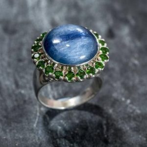 Shop Kyanite Rings! Kyanite Ring, Natural Kyanite, Chrome Diopside Ring, Natural Stones, Large Ring, Healing Stones, Blue Kyanite Ring, Silver Vintage Ring | Natural genuine Kyanite rings, simple unique handcrafted gemstone rings. #rings #jewelry #shopping #gift #handmade #fashion #style #affiliate #ad