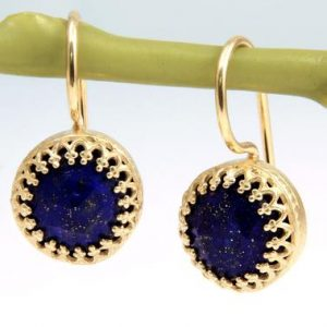 September Birthstone Earrings, lapis Earrings, gold Earrings, dangle Earrings, hook Earrings, gemstone Earrings | Natural genuine Lapis Lazuli earrings. Buy crystal jewelry, handmade handcrafted artisan jewelry for women.  Unique handmade gift ideas. #jewelry #beadedearrings #beadedjewelry #gift #shopping #handmadejewelry #fashion #style #product #earrings #affiliate #ad