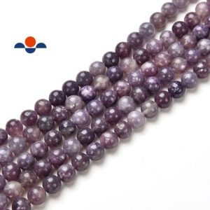 "Lepidolite Smooth Round Beads 6mm 8mm 10mm 15.5"" Strand 