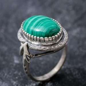 Shop Malachite Rings! Large Malachite Ring, Natural Malachite, Vintage Rings, Large Stone Ring, Natural Stone, 15 Carat Stone, Green Ring, Solid Silver, Malachite | Natural genuine Malachite rings, simple unique handcrafted gemstone rings. #rings #jewelry #shopping #gift #handmade #fashion #style #affiliate #ad