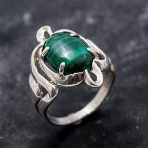 Shop Malachite Rings! Malachite Ring, Natural Malachite Ring, Vintage Rings, Green Malachite, 6 Carat Ring, Green Ring, Silver Ring, Real Malachite, Malachite | Natural genuine Malachite rings, simple unique handcrafted gemstone rings. #rings #jewelry #shopping #gift #handmade #fashion #style #affiliate #ad