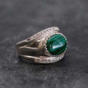 Shop Malachite Rings! Malachite Ring, Natural Malachite Ring, Vintage Rings, Green Malachite, 6 Carat Ring, Bazel Ring, Wide Band Ring, Solid Silver, Malachite | Natural genuine Malachite rings, simple unique handcrafted gemstone rings. #rings #jewelry #shopping #gift #handmade #fashion #style #affiliate #ad