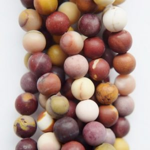 "Shop Mookaite Beads! Genuine Matte Mookaite Beads – Round 6 mm Gemstone Beads – Full Strand 15"", 58 beads, A+ Quality 