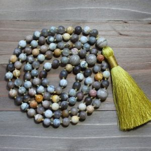 Yellow Tassel Necklace, Yellow Mala, Moonstone Necklace, Yellow Bead Necklace, Beaded Tassel Necklace, Boho Tassel Necklace, Japa Mala Beads | Natural genuine Gemstone necklaces. Buy crystal jewelry, handmade handcrafted artisan jewelry for women.  Unique handmade gift ideas. #jewelry #beadednecklaces #beadedjewelry #gift #shopping #handmadejewelry #fashion #style #product #necklaces #affiliate #ad