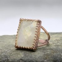 Rainbow Moonstone Ring, rectangle Ring, rose Gold Ring, large Ring, statement Gemstone Ring, lace Setting Ring, crown Ring | Natural genuine Gemstone jewelry. Buy crystal jewelry, handmade handcrafted artisan jewelry for women.  Unique handmade gift ideas. #jewelry #beadedjewelry #beadedjewelry #gift #shopping #handmadejewelry #fashion #style #product #jewelry #affiliate #ad