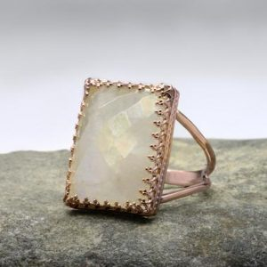Rainbow Moonstone Ring, rectangle Ring, rose Gold Ring, large Ring, statement Gemstone Ring, lace Setting Ring, crown Ring | Natural genuine Gemstone rings, simple unique handcrafted gemstone rings. #rings #jewelry #shopping #gift #handmade #fashion #style #affiliate #ad