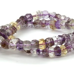 Shop Ametrine Rondelle Beads! Natural Ametrine Transparent Faceted Rondelle Loose Gemstone Beads – Full Strand | Natural genuine rondelle Ametrine beads for beading and jewelry making.  #jewelry #beads #beadedjewelry #diyjewelry #jewelrymaking #beadstore #beading #affiliate #ad