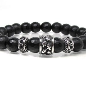 Shop Onyx Bracelets! Mens Black Onyx Bracelet with 316L Stainless Steel, Mens Skull Bracelet, Mens Beaded Bracelet, Mens Gift, Mens Gemstone Bracelet | Natural genuine Onyx bracelets. Buy handcrafted artisan men's jewelry, gifts for men.  Unique handmade mens fashion accessories. #jewelry #beadedbracelets #beadedjewelry #shopping #gift #handmadejewelry #bracelets #affiliate #ad