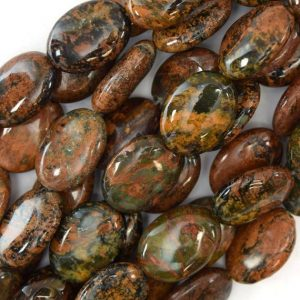 "Shop Opal Bead Shapes! 14mm Brown Green Opal Flat Oval Beads 16"" Strand 17434 
