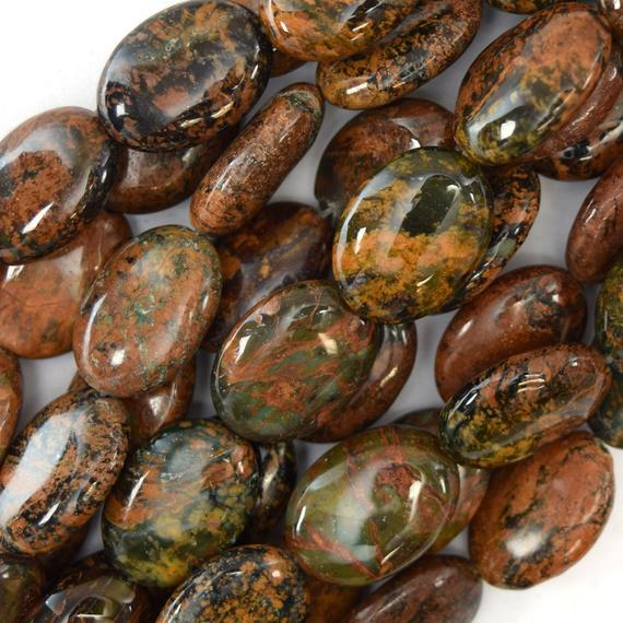 "14mm Brown Green Opal Flat Oval Beads 16"" Strand 17434"